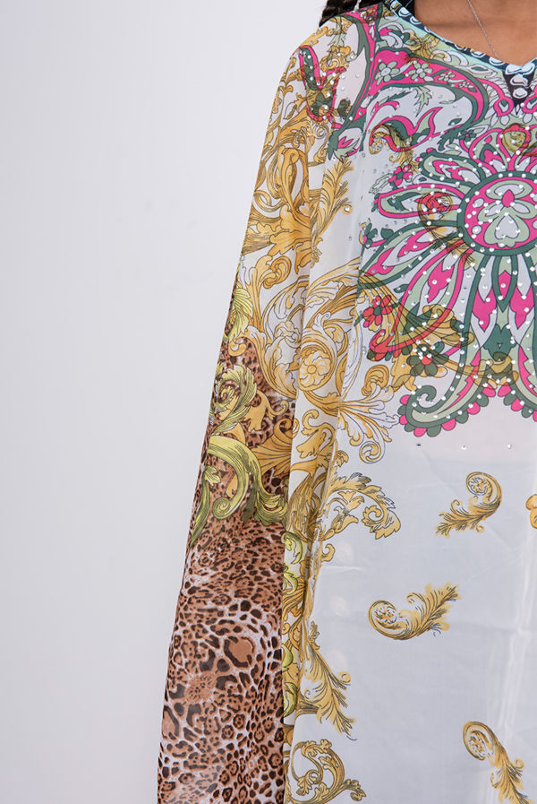 Floral Leopard Print Chiffon Kaftan Top