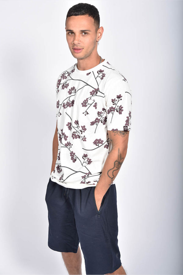 Ecru Floral Printed Pocket T-Shirt