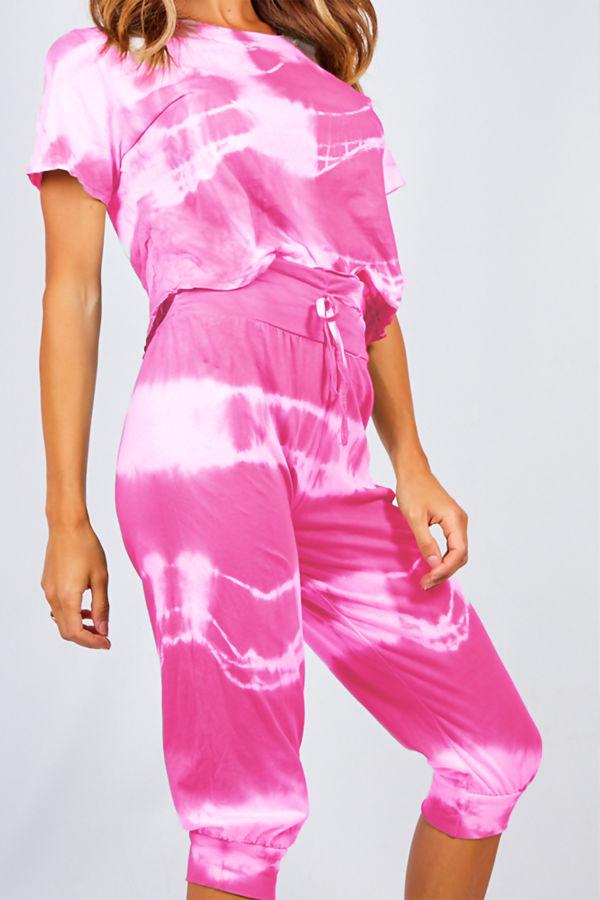 Fuchsia Tie Dye Crop Top And Harem Cap Set