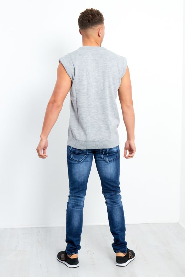 Plus Size Grey V-Neck Sleeveless Knitted Jumper