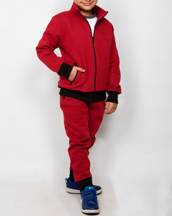 Girls Wine Zip Up Tracksuit With Black Contrast Detail