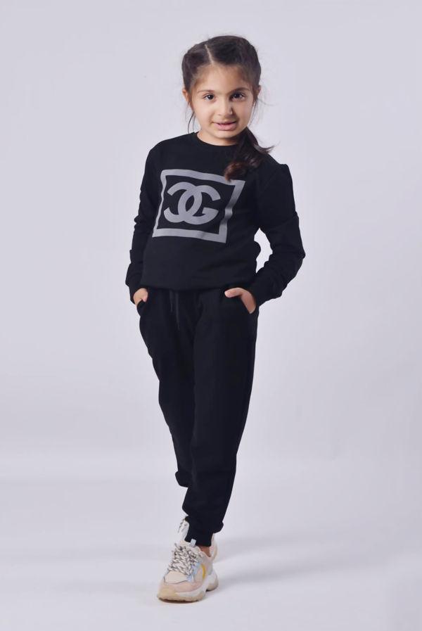 Girls Black Reflective CG Logo Loungewear Set