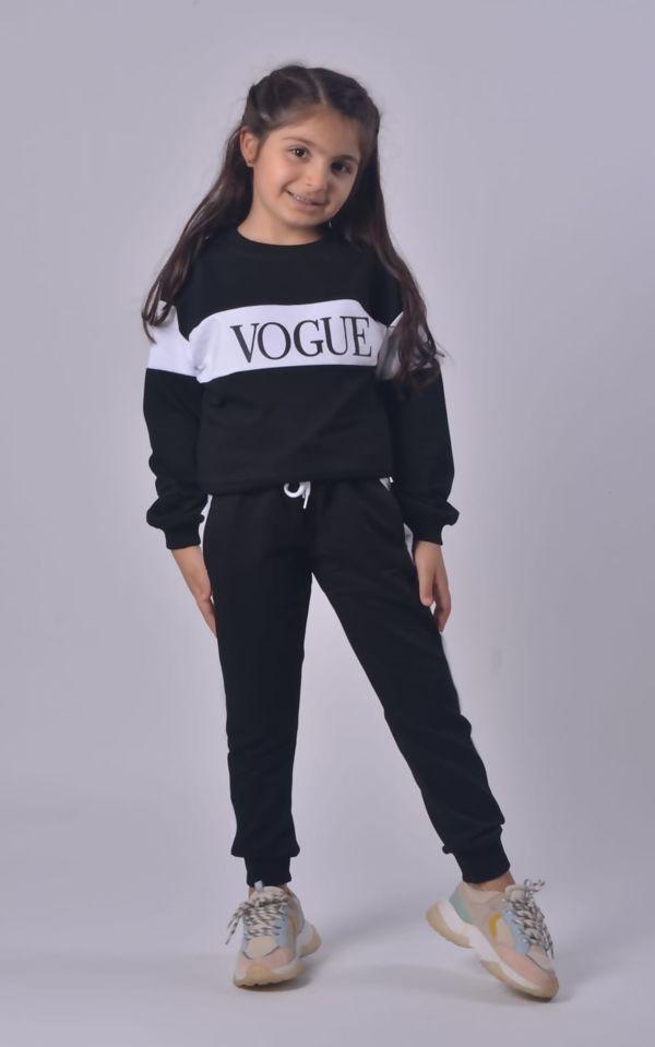 Girls Black Vogue Loungewear Set
