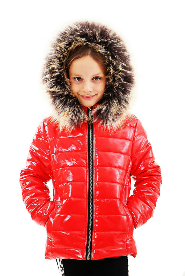 Girls Red With Brown Fur Shiny Hooded Jacket Pre-Order