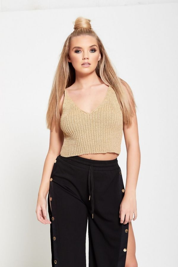 Glitter Rib Knitted Crop Top