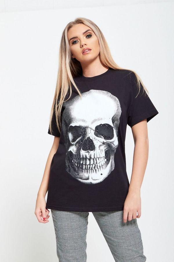 Glitter Skull Print Black T Top