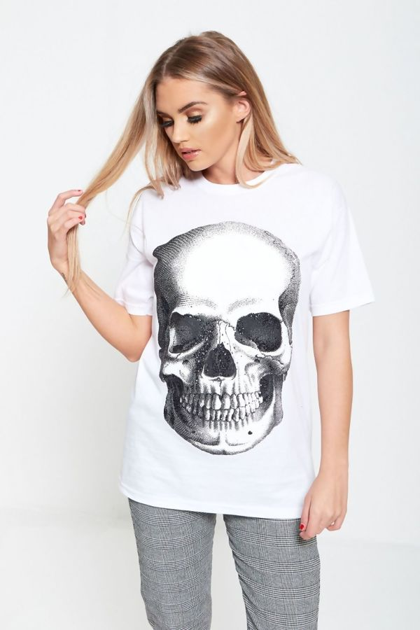 Glitter Skull Print White T Top