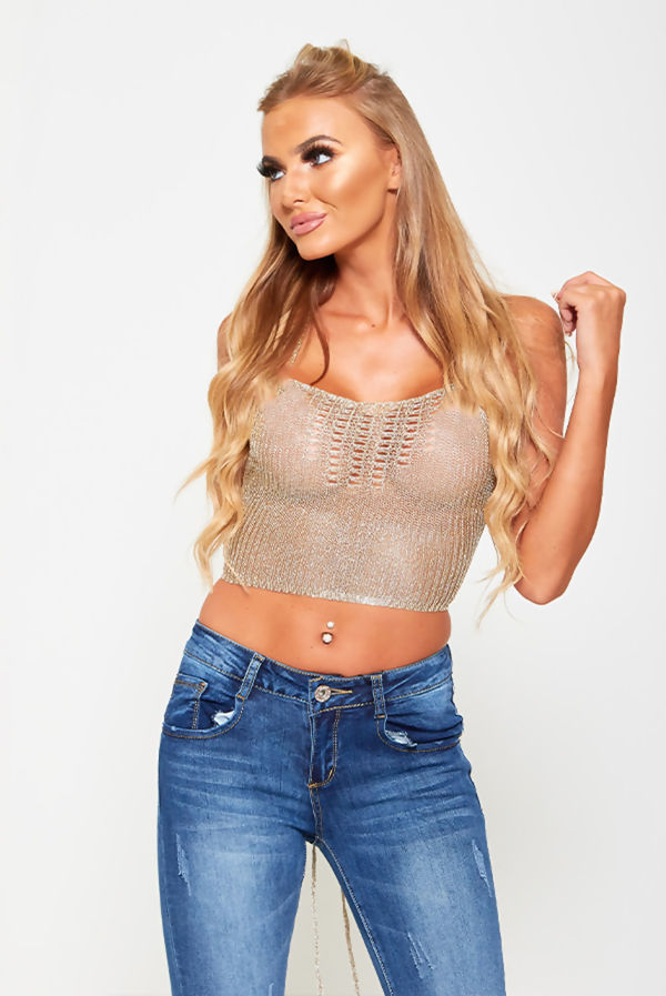 Gold Chainmail Halter Neck Backless Top