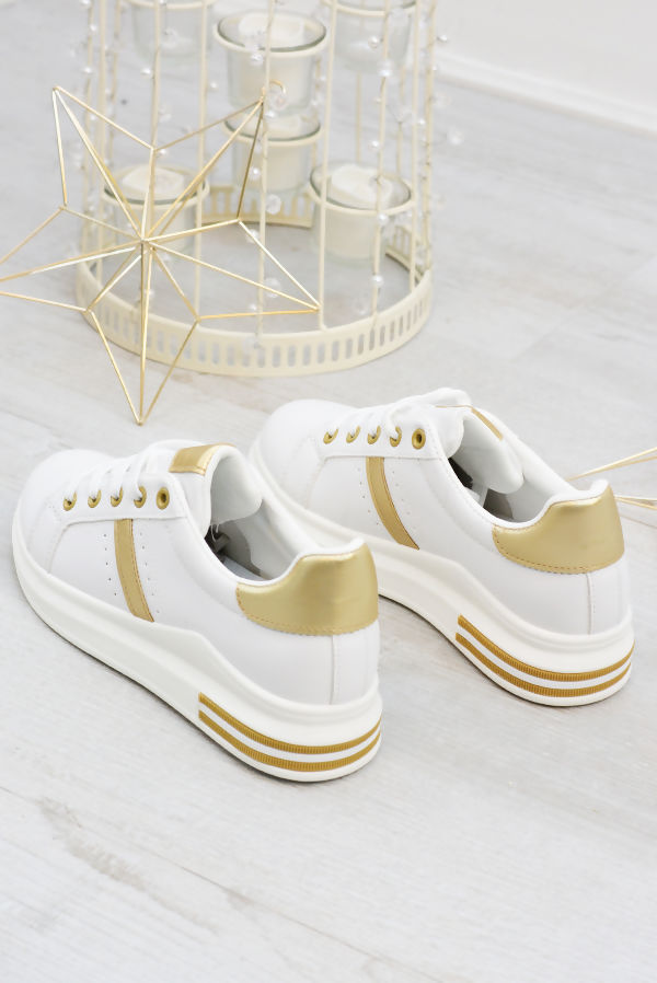 Gold Chunky Sole White Trainers
