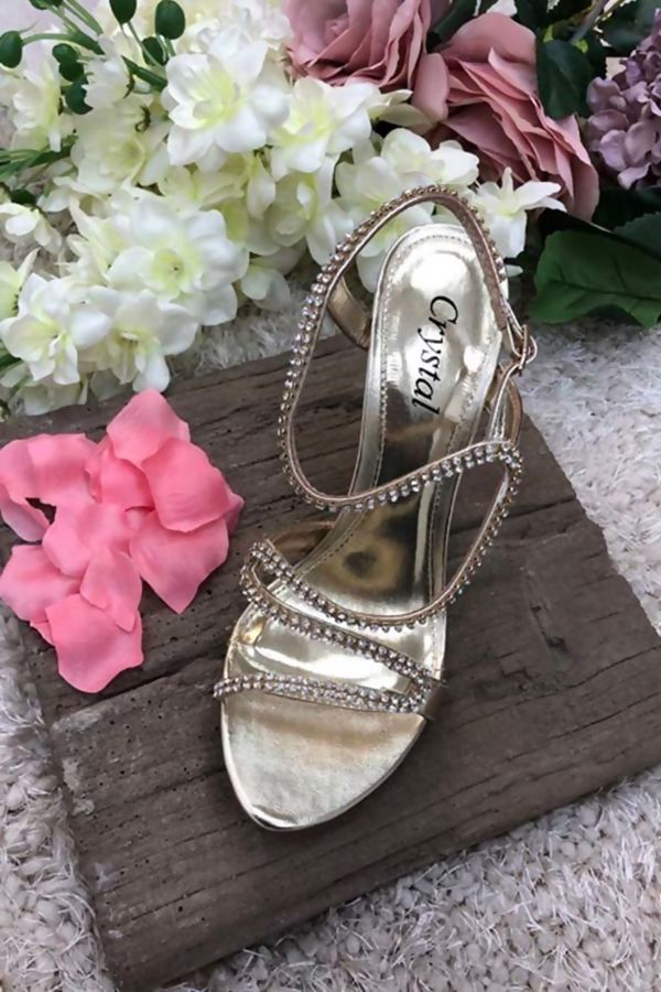 Gold Criss Cross Crystals Encrusted Evening Sandal