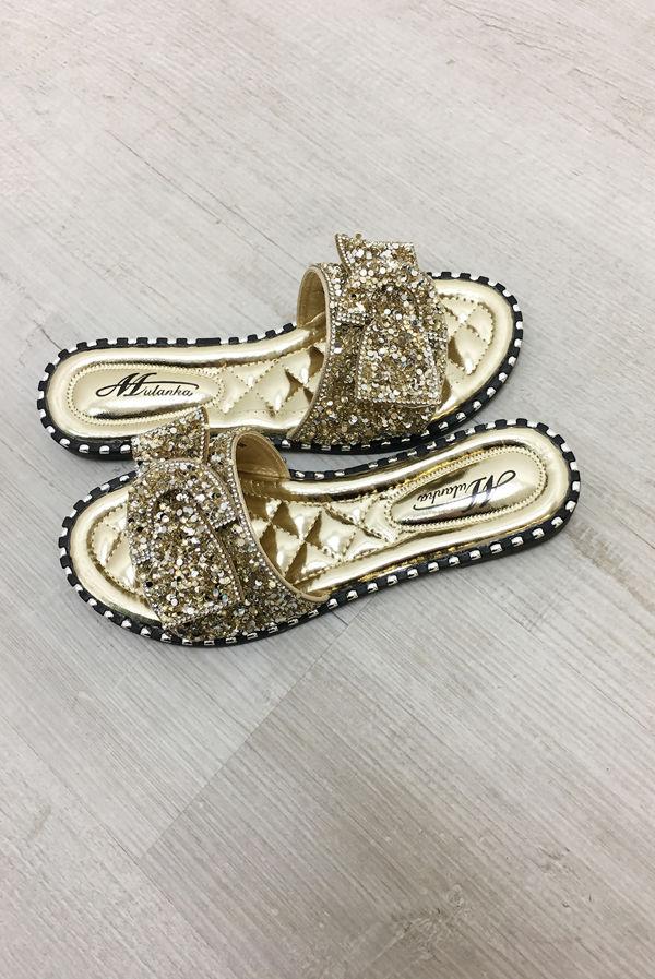 Gold Diamante Bow Sandals