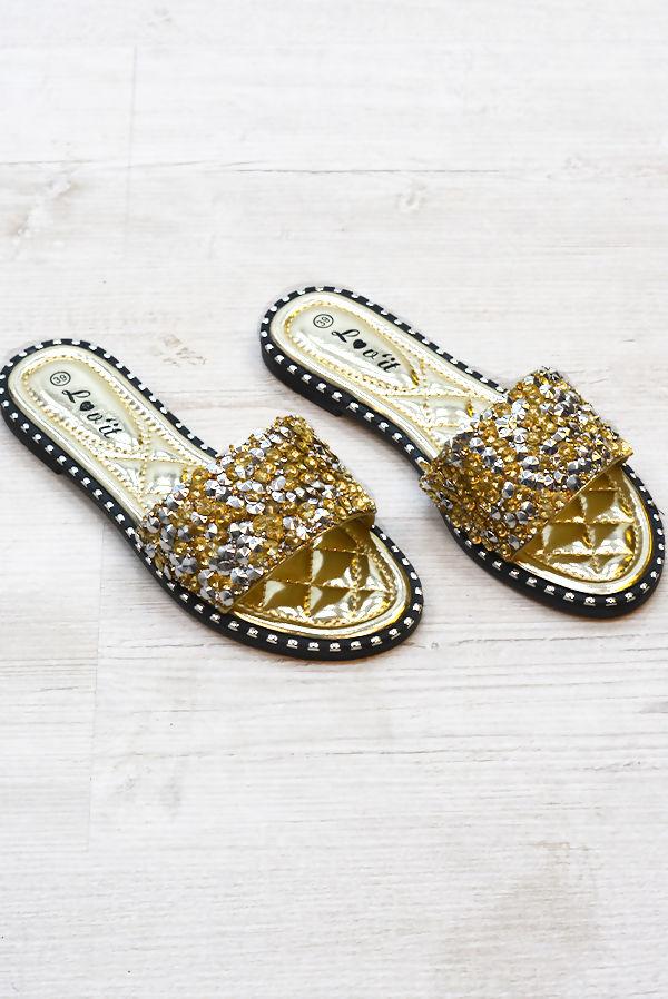 Gold Diamond Bedazzled Slider