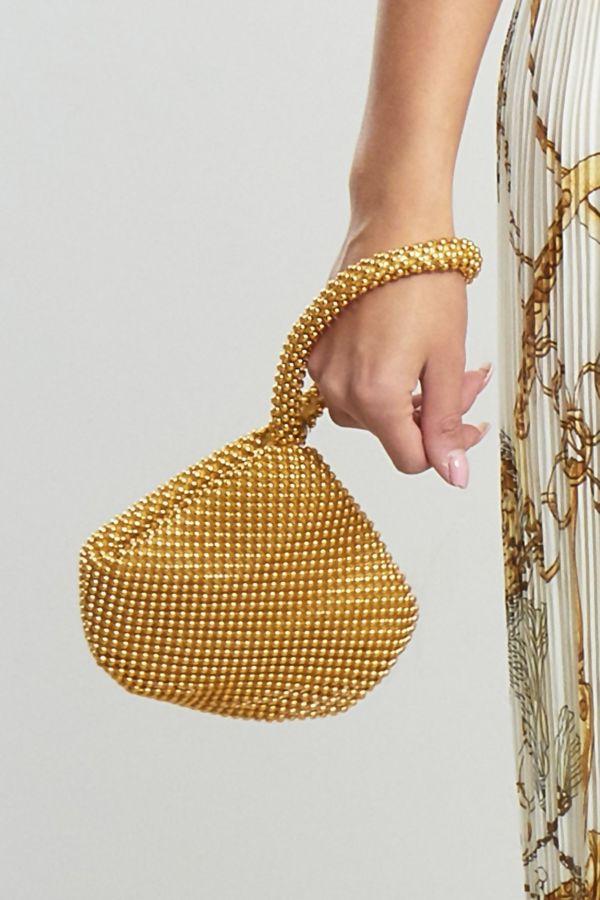 Gold Embellished Wristlet Ball Clutch