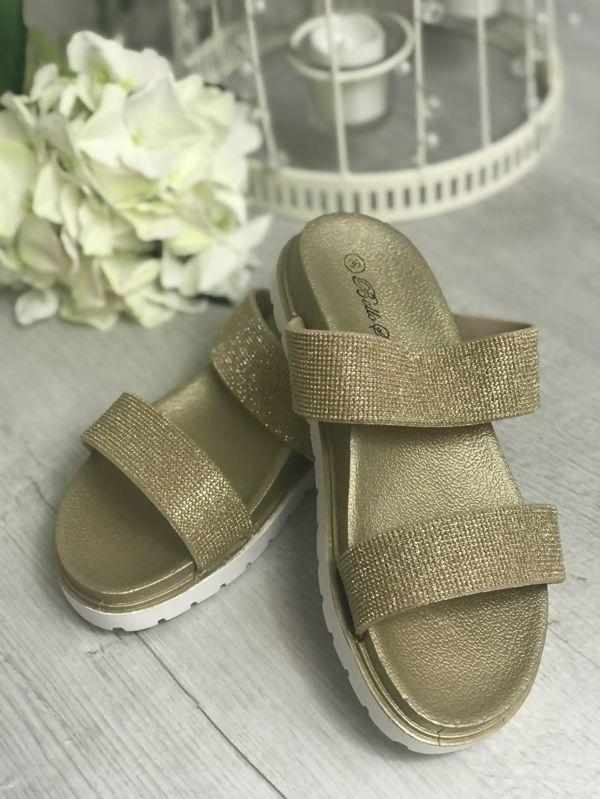 Gold Glitter Sparkly Sandals