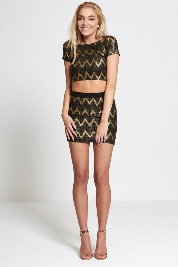 Gold Glitter Zig Zag Cropped Top
