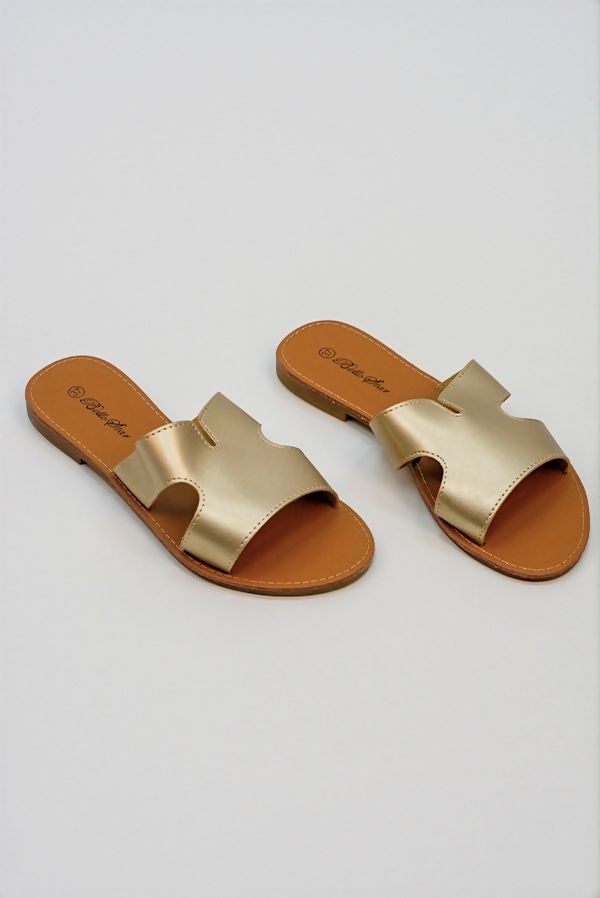Gold Leather Flat Slip On Slider
