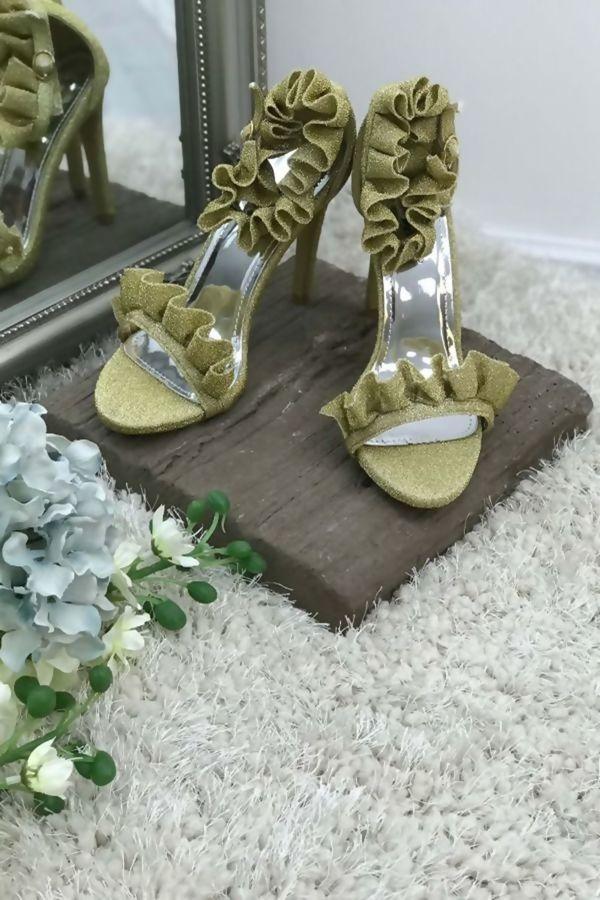 Gold Party Prom Ruffle Frill Stilleto Heel