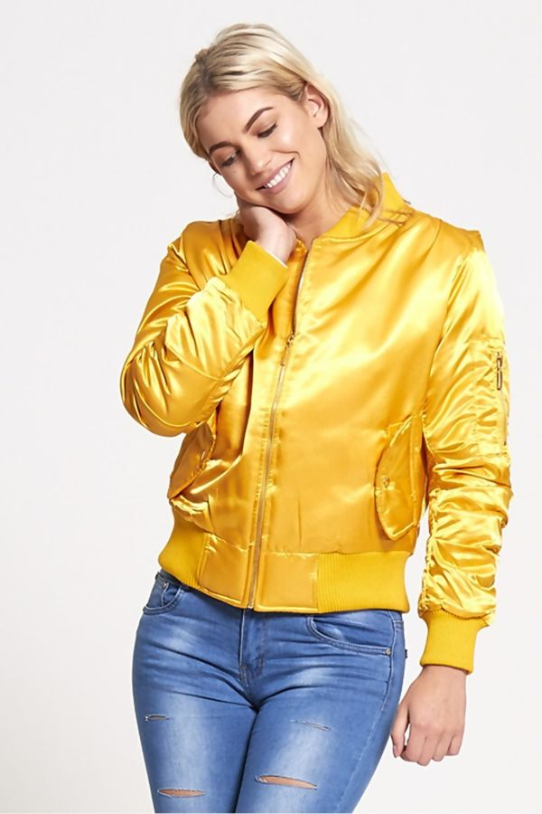 Gold Satin MA1 Bomber Jacket