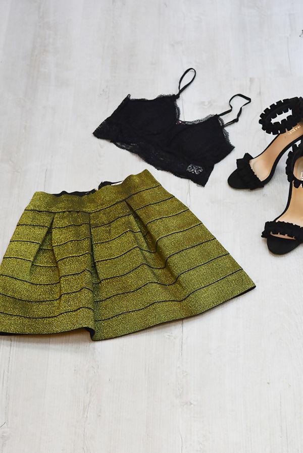 Gold Sparkle Skater Skirt