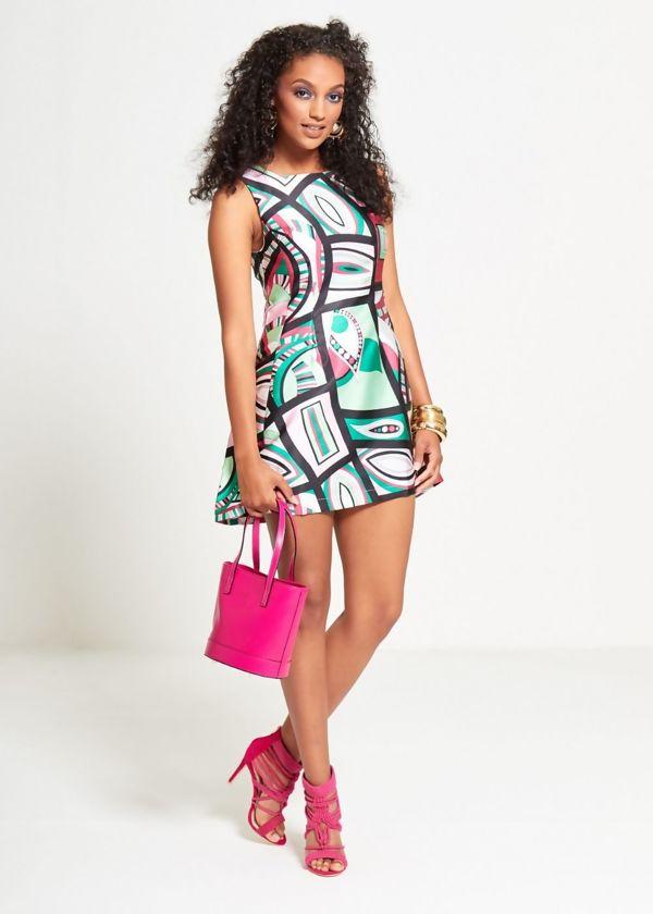 Green Abstracted Multi Mini Dress