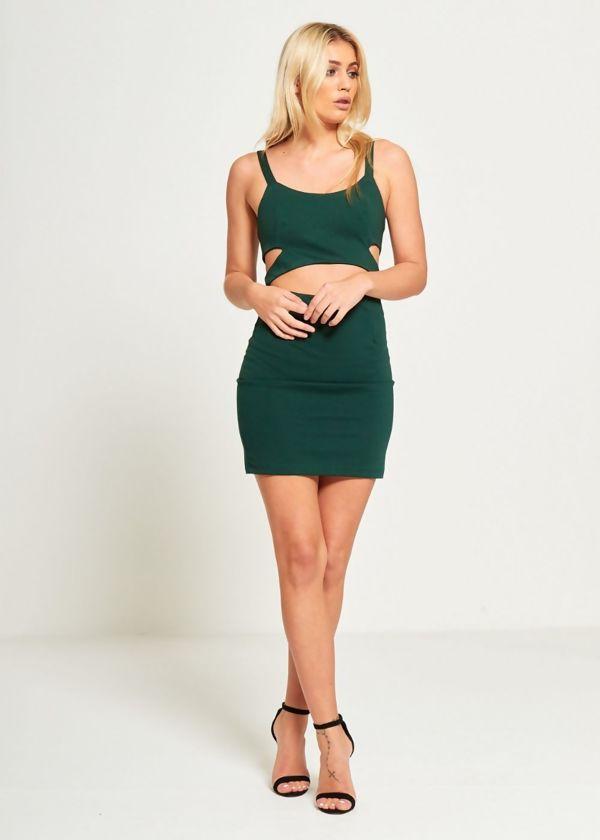 Green Bodycon Cut Out Mini Dress