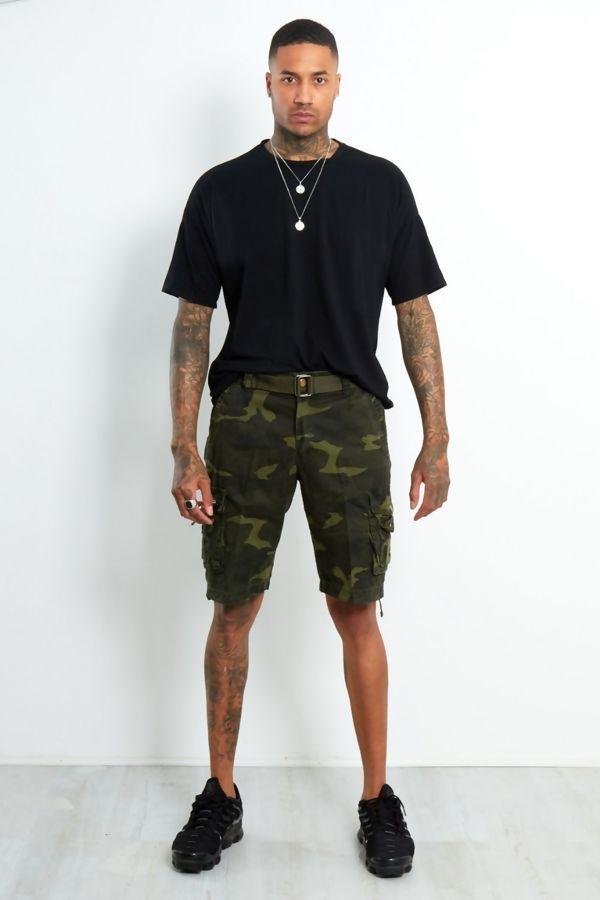 Green Camo Cargo Shorts