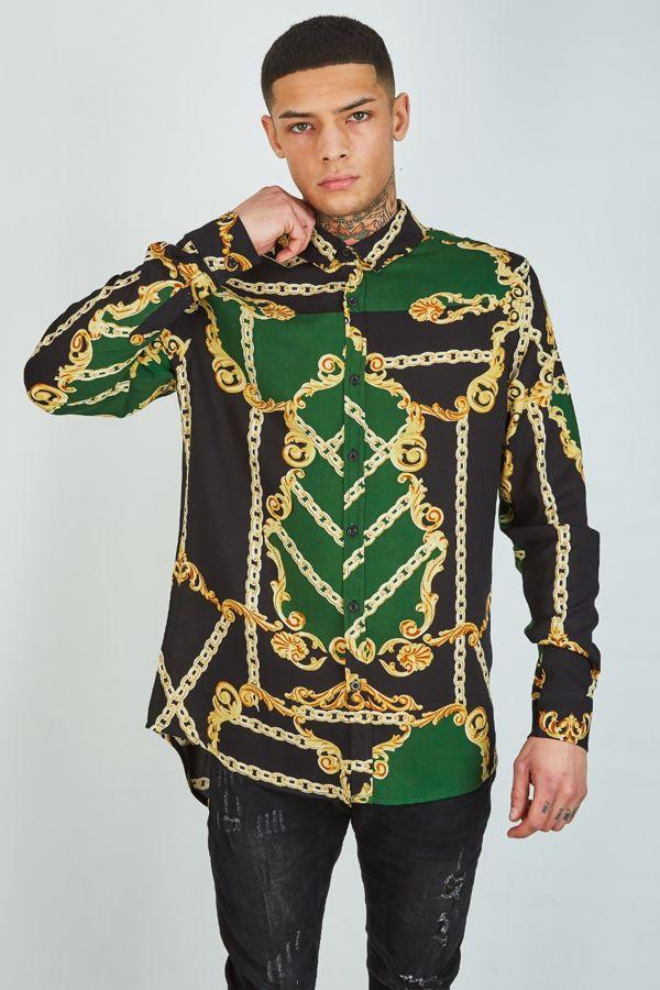 Green Chain And Baroque Print Shirt