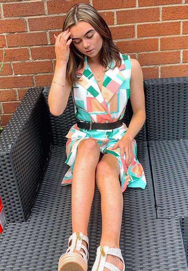 Green Colour Block Print Blazer Dress
