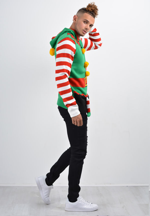 Green Elf And Santa Suit Christmas Jumper