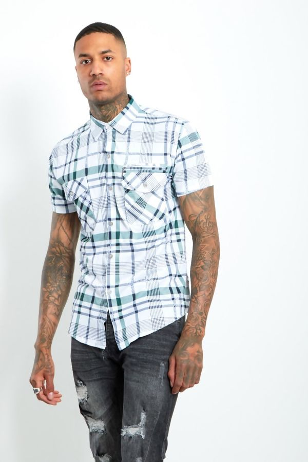 Green Half Sleeve Check Shirt