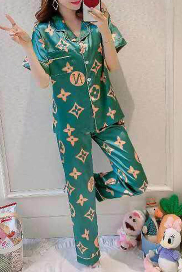 Green LV Printed Satin PJ Set