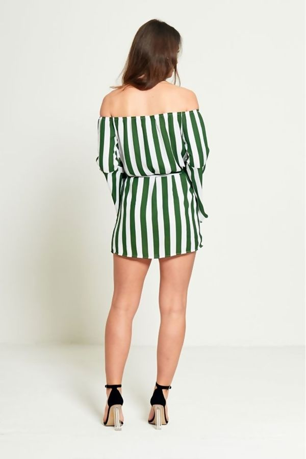 Green Pin Striped Off Shoulder Belted Dress