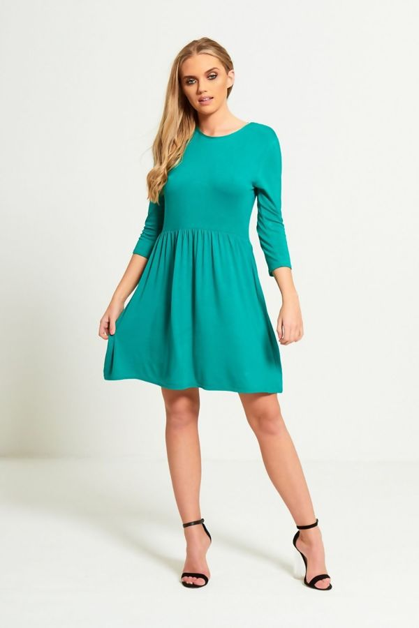 Green Plain Basic Skater Mini Dress