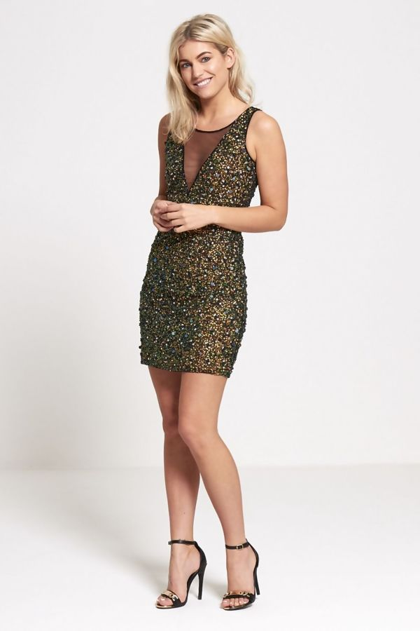 Green Premium Sequinned Mini Dress