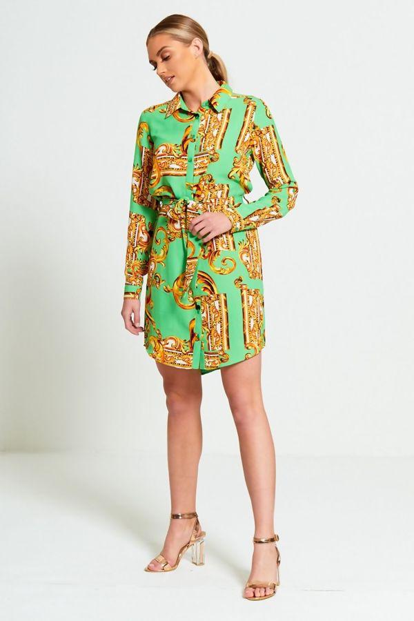Green Printed Belt Shirt Dress