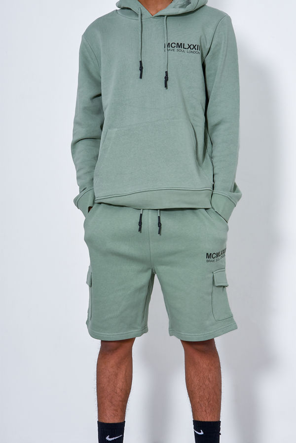 Green Printed Hoodie And Short Tracksuit