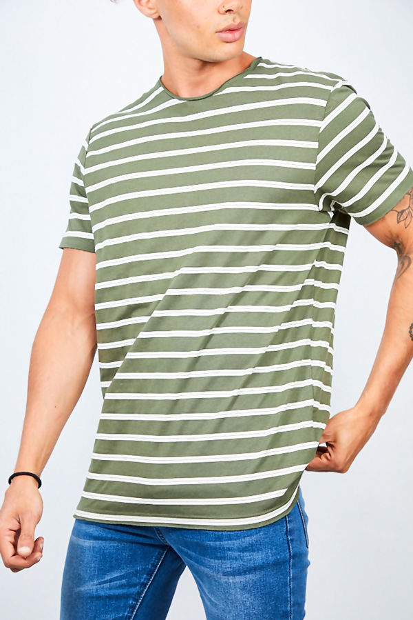 Green Rolled Detail Striped Crew Neck T-Shirt
