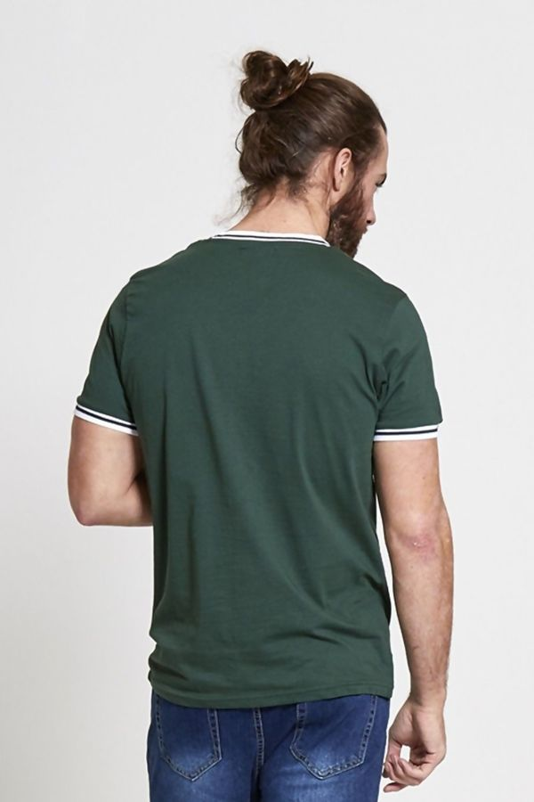 Green Striped Contrast T-Shirt