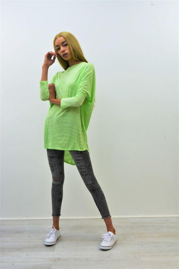 Green Textured Dip Hem Batwing Top