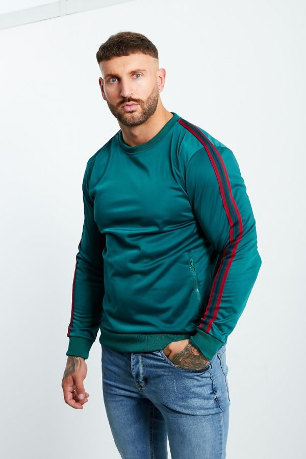 Green Zipped Pocket Front Striped Sleeve Jumper