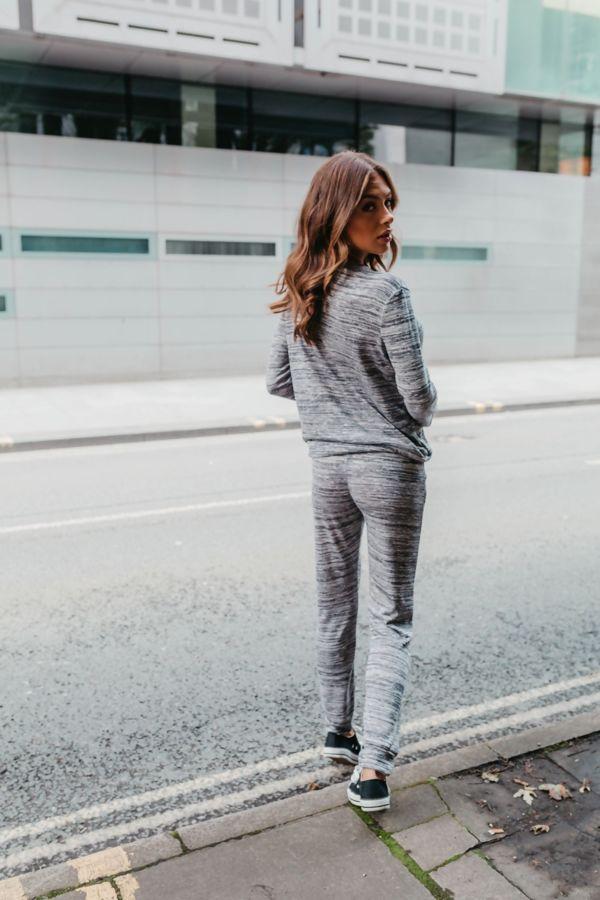 Grey Back To Basic Plain Skinny Tracksuit