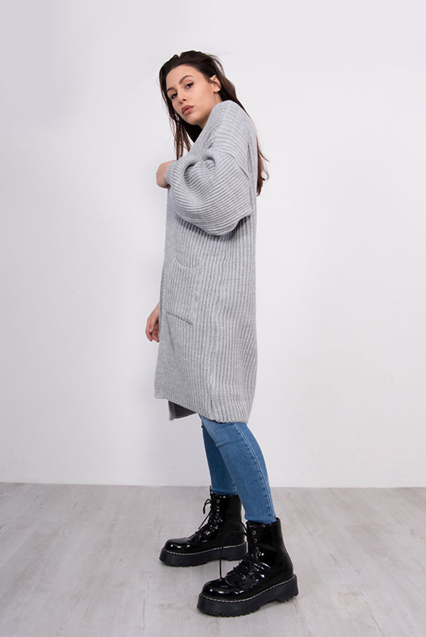Grey Balloon Sleeve Pocket Front Knitted Cardigan