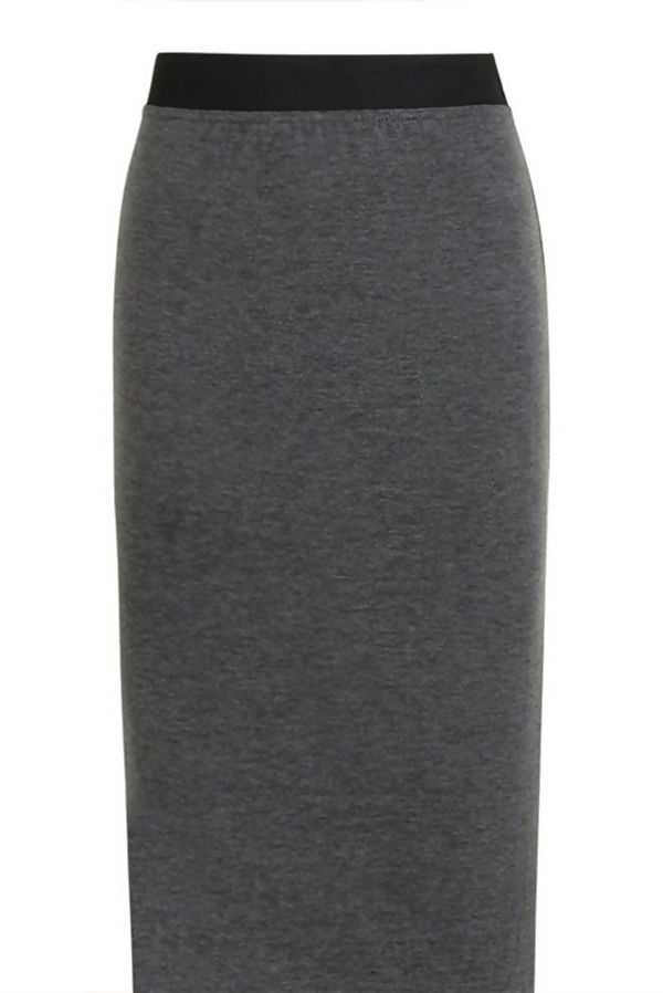 Charcoal Basic Contrast Waist Jersey Maxi Skirt