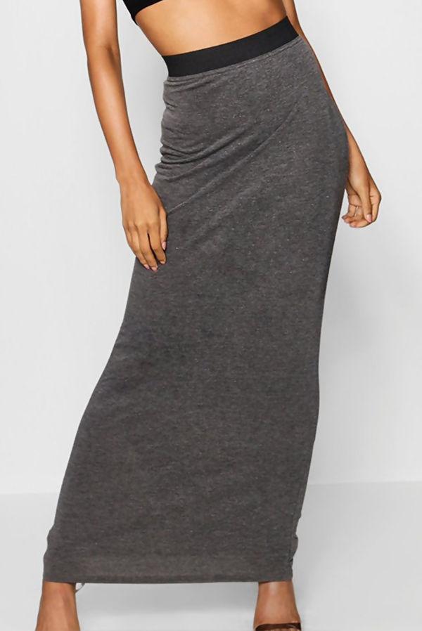 Khaki Basic Contrast Waist Jersey Maxi Skirt