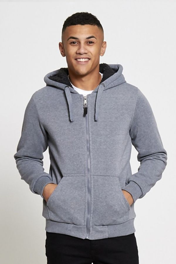 Grey Borg Lined Zip Through Hoodie