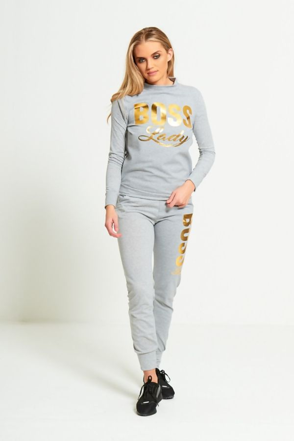 Grey Boss Lady Customized Tracksuit