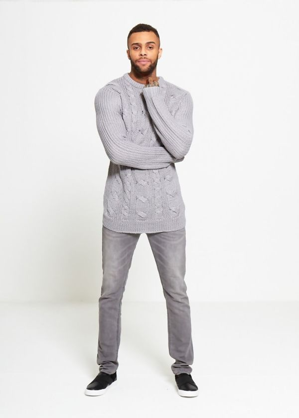 Grey Braid Knit Long Line Jumper