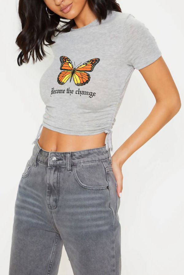 Grey Butterfly Print Ruched Side Crop T-Shirt