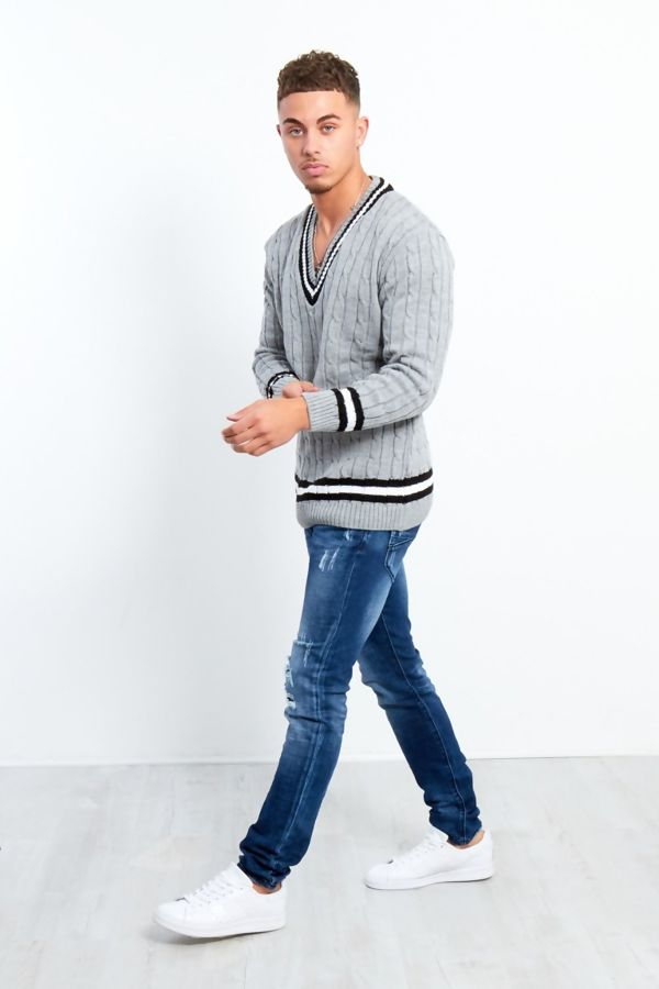 Grey Cable Knitted V Neck Cricket Jumper