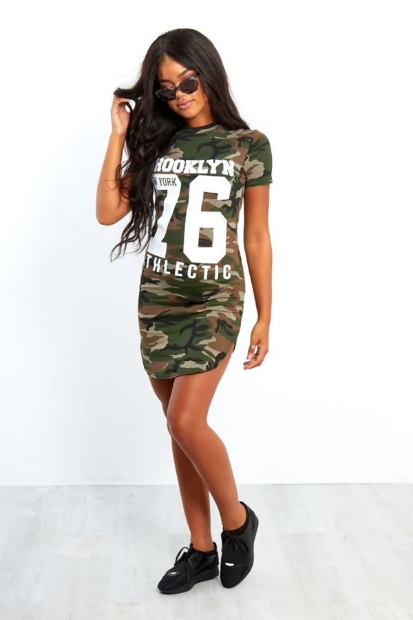 Grey Camouflage 76 Printed Bodycon Dress